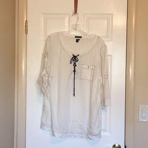 Ralph Lauren linen white with navy  trim top